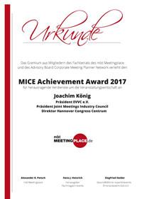 Urkunde - MICE Achievment Award